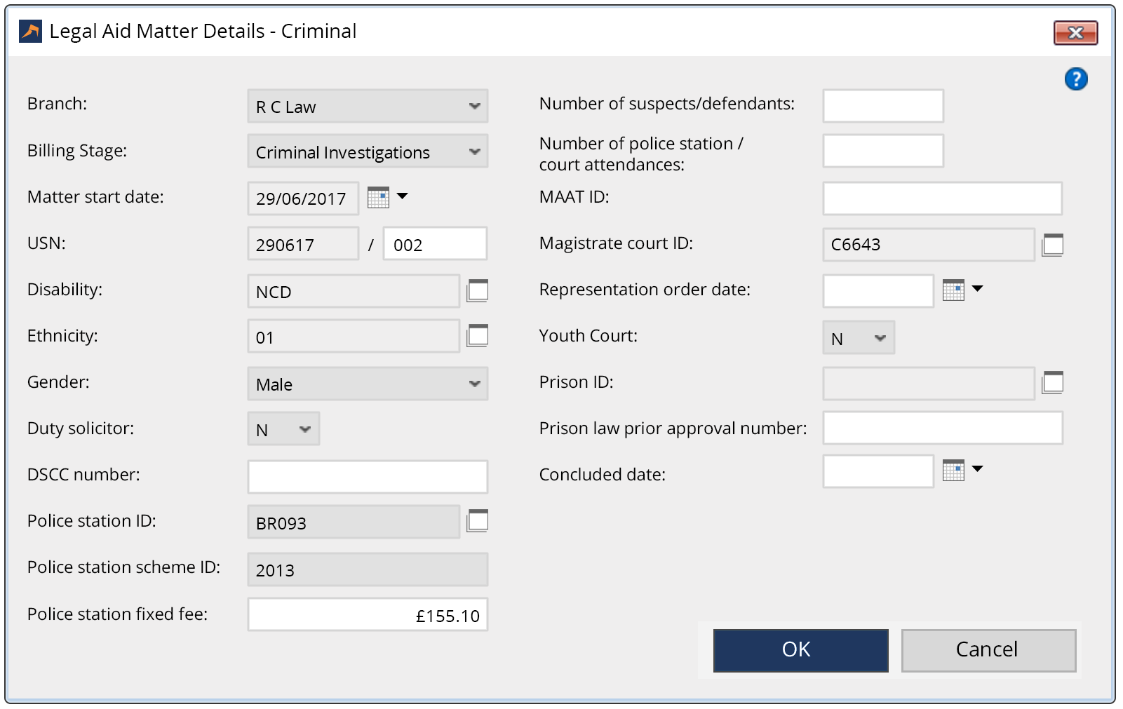 Criminal Law Software Matter Type - LEAP Legal Software