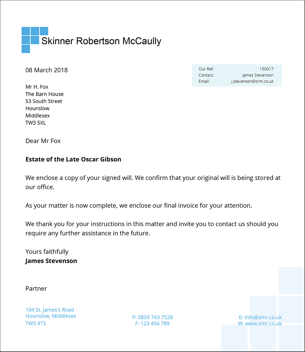Letter to Client Will - LEAP Legal Software UK